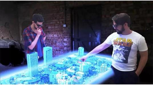 多人互动全息投影桌,让你从不同角度观看立体影